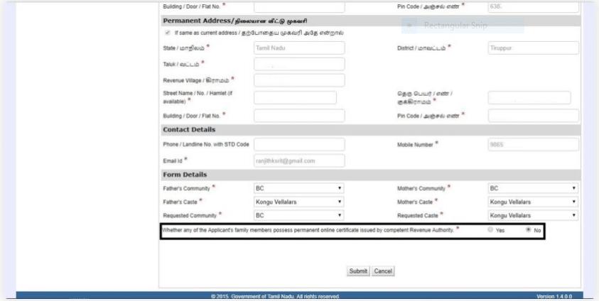 community certificate declaration form